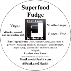 Superfood Fudge Avery front lable